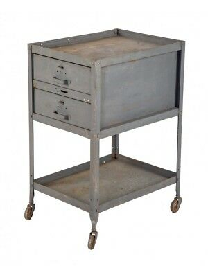 1940'S Industrial Double-Drawer Mobile Machine Shop Tool Cart Or Cabinet