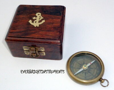 """Halloween Nautical Vintage Maritime Brass Flat Compass 2"""" With Anchor Wooden Box"""