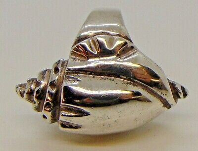Mexico 925 STERLING SILVER CONCH SHELL Seashell RING SIZE 6.5-7 beach shore