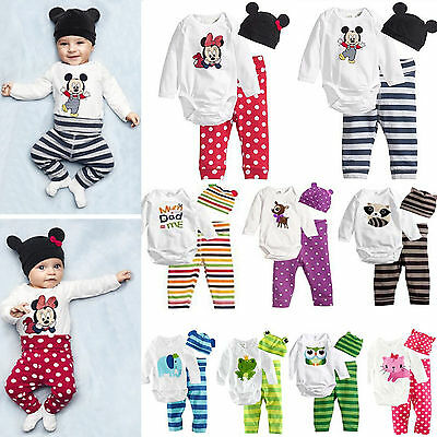 3tlg Baby Jungen Mädchen Strampler Body Overall Tops + Hose + Hut Outfits Set