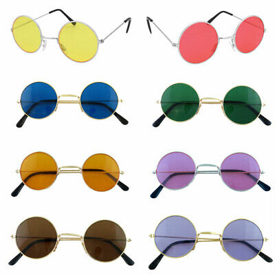 60s 70s Round Lennon Glasses Silver Frames Blue Purple Red Green Black Yellow