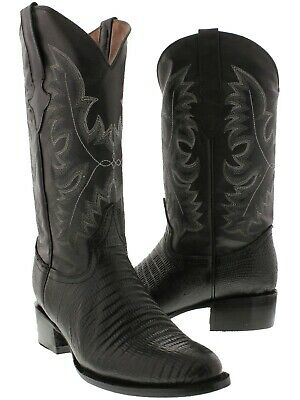 Men's Black Exotic Lizard Design Genuine Leather Cowboy Boots Rodeo Round Toe