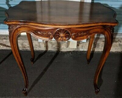 INCREDIBLE ANTIQUE FRENCH FINELY CARVED side table! NO veneer! SOLID! RARE!