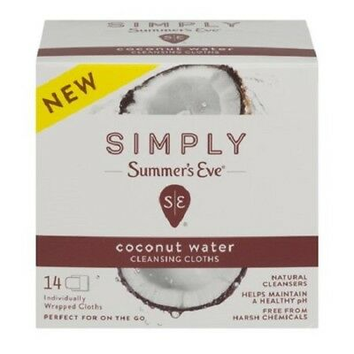 Summer's Eve Simply Cleansing Cloths, Coconut Water, 14 Ct