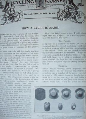 1906 BICYCLE manufacture Coventry & Birmingham Rudge Hudson : magazine article C