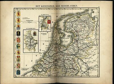Netherlands Holland Luxembourg royal coats crests c. 1865 Petri rare antique map