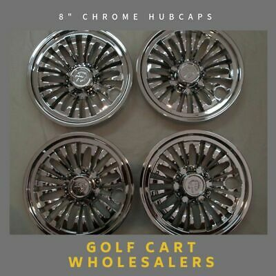 Golf Cart Car Buggy 8 Inch Chrome Hub Caps Set Of 4 To Suit Standard Steel Rims