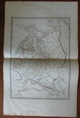 Russia in Europe St. Petersburg Moscow Black Sea c.1860 engraved hand color map