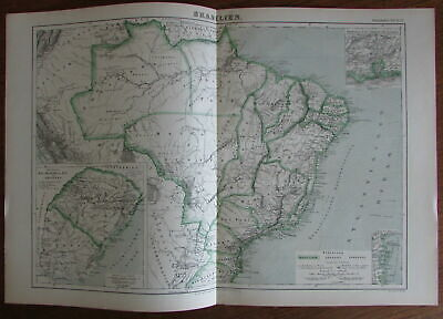 Brazil Brasilien Uruguay South America w/ insets c.1880 lithographed folio map