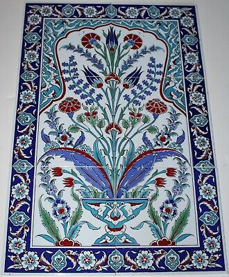 "16""x24"" Turkish Iznik Tree of Life Pattern Handpainted Ceramic Tile PANEL Mural"