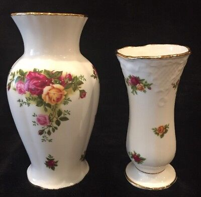 Two 1962 Royal Albert OLD COUNTRY ROSES Vases, Excellent Condition
