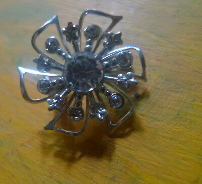 Vintage Rev Rhinestone Brooch sparkly flower-  Estate -2 post FREE