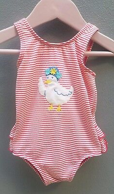 MINI BODEN Swimsuit Girls Size 6-12mths Cosi Bathers Red/White Striped Duck Baby