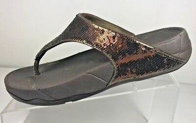 5f2001643efebb FITFLOP Electra Brown Bronze Sequin Toning Thong Flip Flop Sandals Womens  Size 8