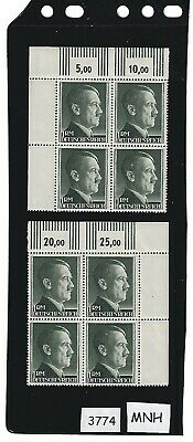 Adolph Hitler stamp block set / MNH 1940s / 1RM Third Reich / Nazi Germany / MNH