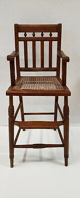 Antique Wooden Childs High Chair Victorian Caned Seat 1900s