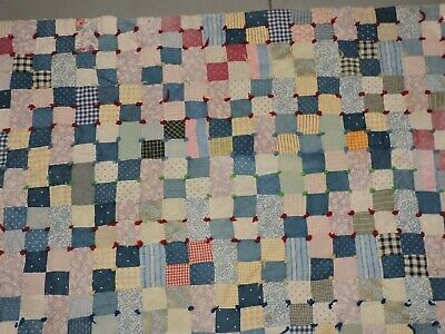 "Vtg Handmade Quilted Lap Blanket Baby Crib Quilt Pieced Blocks 58"" x 39"""