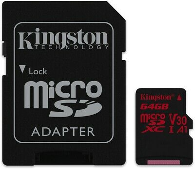 Kingston MicroSD Canvas React SDCR 64GB klasse 10 Speicherkarte mit Adapter,