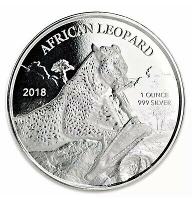 2018 1 oz African Leopard .999 Silver Coin 5 Cedis BU Proof-like