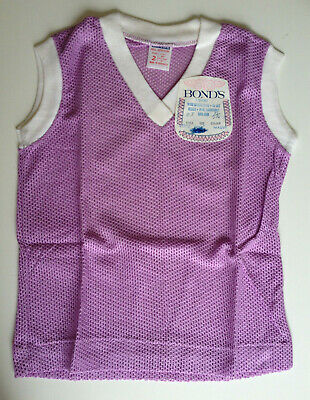 Vintage BONDS air mesh COTTON T-shirt top, Aust made, MAUVE, size 2 - NEW