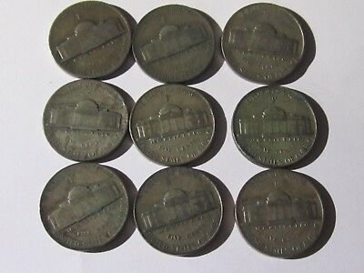 40 - Silver Jefferson War Nickels Roll - Circulated coins