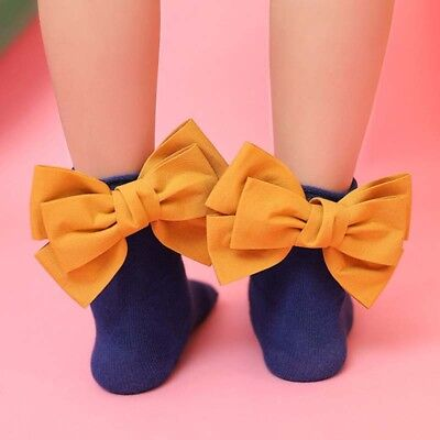 Toddler Baby Girls Ankle Socks Big Bow Cotton Casual Princess Stock B