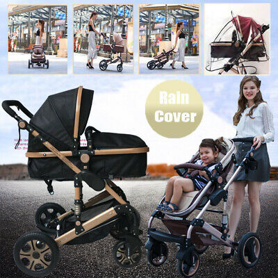 Luxury 9 in 1 Baby Stroller Pram & Bassinet Reversible Foldable Pushchair Travel