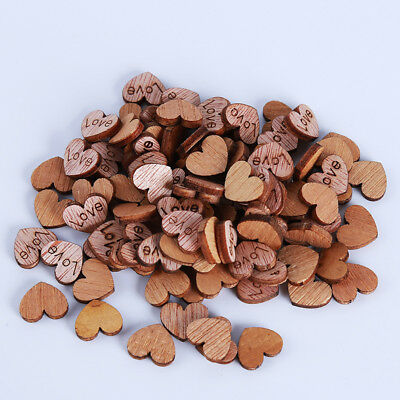 100pcs Without Hole Wooden Sewing Heart Shaped Buttons Scrapbooking Craft B