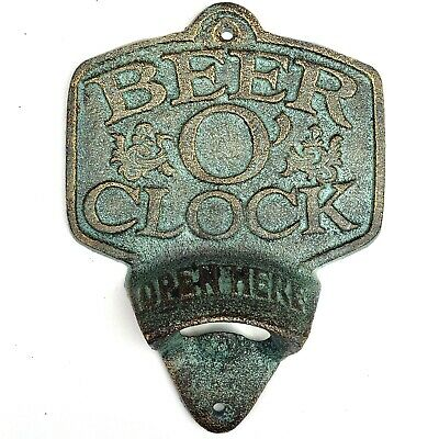 Cast Iron BEER O'CLOCK BOTTLE OPENER Home Man Cave Garage or Poolside Bar