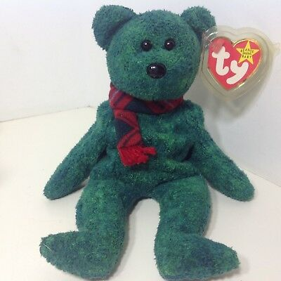 a4d72c33569 Retired Ty Beanie Baby WALLACE Green Scottish Bear