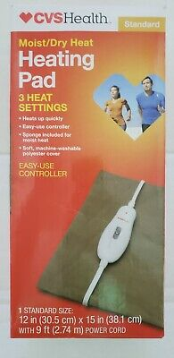 "CVS Health Moist/Dry Electric Heating Pad 3 Heat Settings Standard Size 12""x15"""