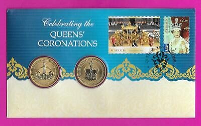 """2013 Australian """" Queens' Coronations """" Pnc With Special Released 2 X $1 Coins"""