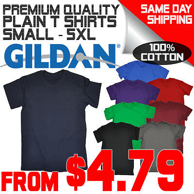 Men's Plain Blank 100% Cotton Gildan Premium T-Shirt Tee tshirt T Shirt