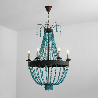 Vintage Turquoise Bead Strands Large Chandelier Pendant Light Rust Metal Frame