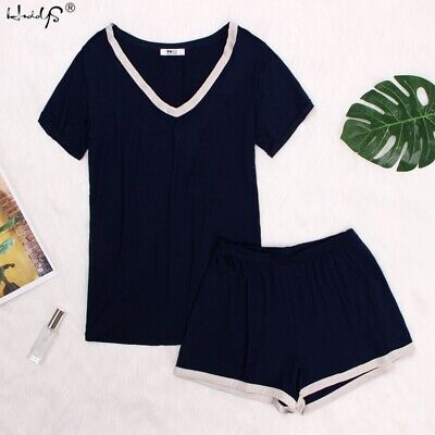 Women's V-Neck Sleepwear Short Sleeve Pajama Set Soft Cotton Homewear Nightwear