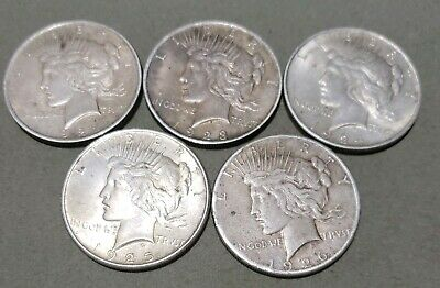 1922-1923-1924-1925-1926 S. Peace Dollars. Lot Of 5 Silver DOLLARS