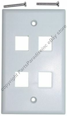 WHITE LOT of 10 FLUSH MOUNTED WALL PLATES 2 PORT