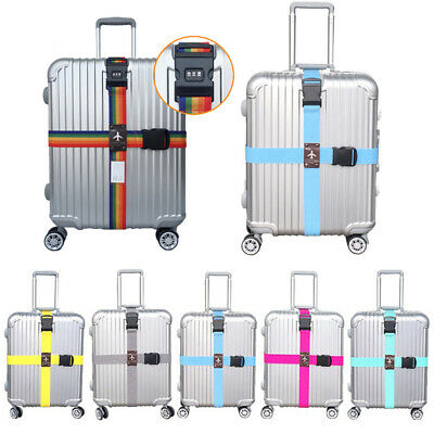 Adjustable Suitcase Luggage Cross Strap Travel Baggage Belt With TSA Lock & Tag