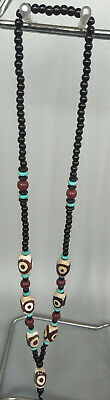 Exquisite Chinese Antique Tibetan  dizn agate&green stone necklace J018