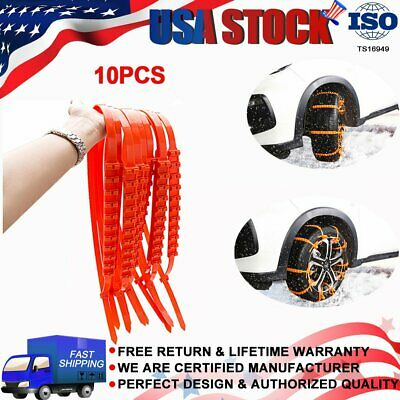 10Pcs/set Anti-skid Chains for Car Snow Mud Wheel Tyre Thickened Tire Tendon US