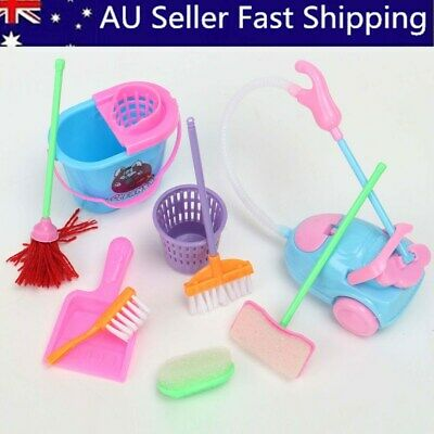 9Pcs Home Furniture Furnishing Cleaning Cleaner Kit For Barbie Doll House Set AU