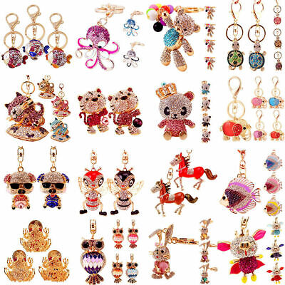 NEW Charm 3D Animal Crystal Keyring Bag Purse Car Key Chains Rings Jewelry Gifts