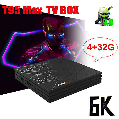 T95 Max 4GB+ 32GB Android 9.0 Quad Core TV Box HD 6K Media Player WIFI Theater