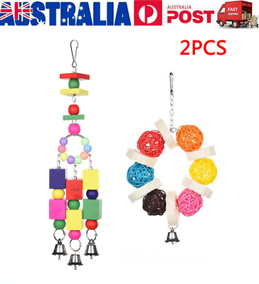 2PCS Bird Toy Harness Cage Parrot Hanging Swing Toys Parakeet Cockatiel Budgie