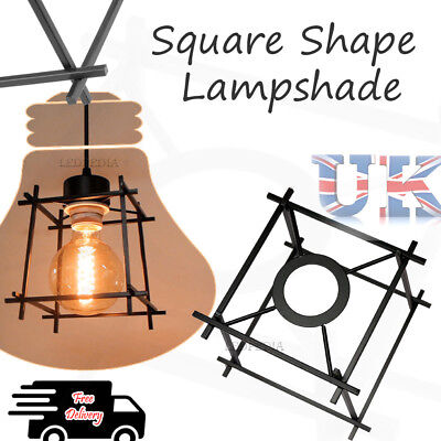 Vintage Pendant Light Lamp Shades Industrial Style Square Shaped Without bulb
