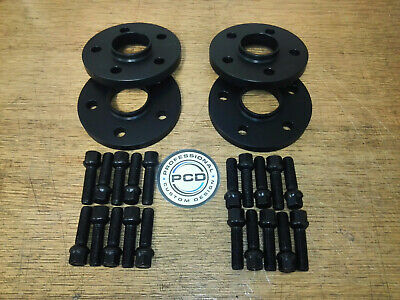 2 Pair 5x112 Hubcentric Spacers 15mm Wide 66.5CB 10 Wheel Bolts AUDI BLACK UK