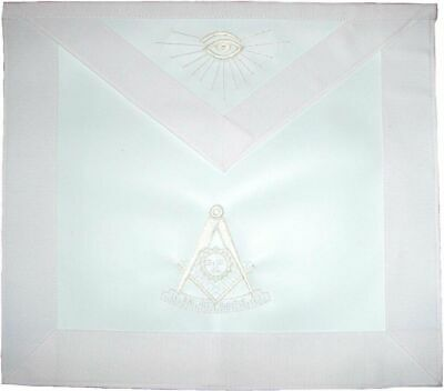 Masonic Past Master Apron All White Hand Embroidered