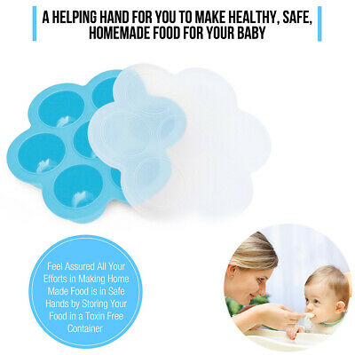 Baby Weaning Food Freezing Cubes Silicone Tray 7 Pots Freezer Storage Containers