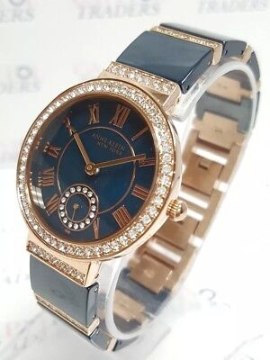 Anne Klein 12/2300NVRG Women's 33mm Rose Gold Tone/Navy Crystal Accent Watch NWT