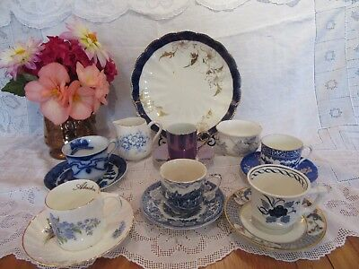 Beautiful Vintage  china mixed mismatch blue coffee set  6 cups, saucer & plate